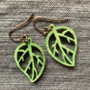 Green leaf wooden earrings